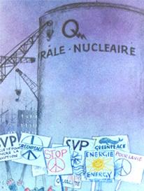 oeuvre de Frederic Back : on voit une tour large écrit Centrale nucléaire avec le logo d'Hydro-Québec. Au bas, des pancartes de gens qui manifestent.